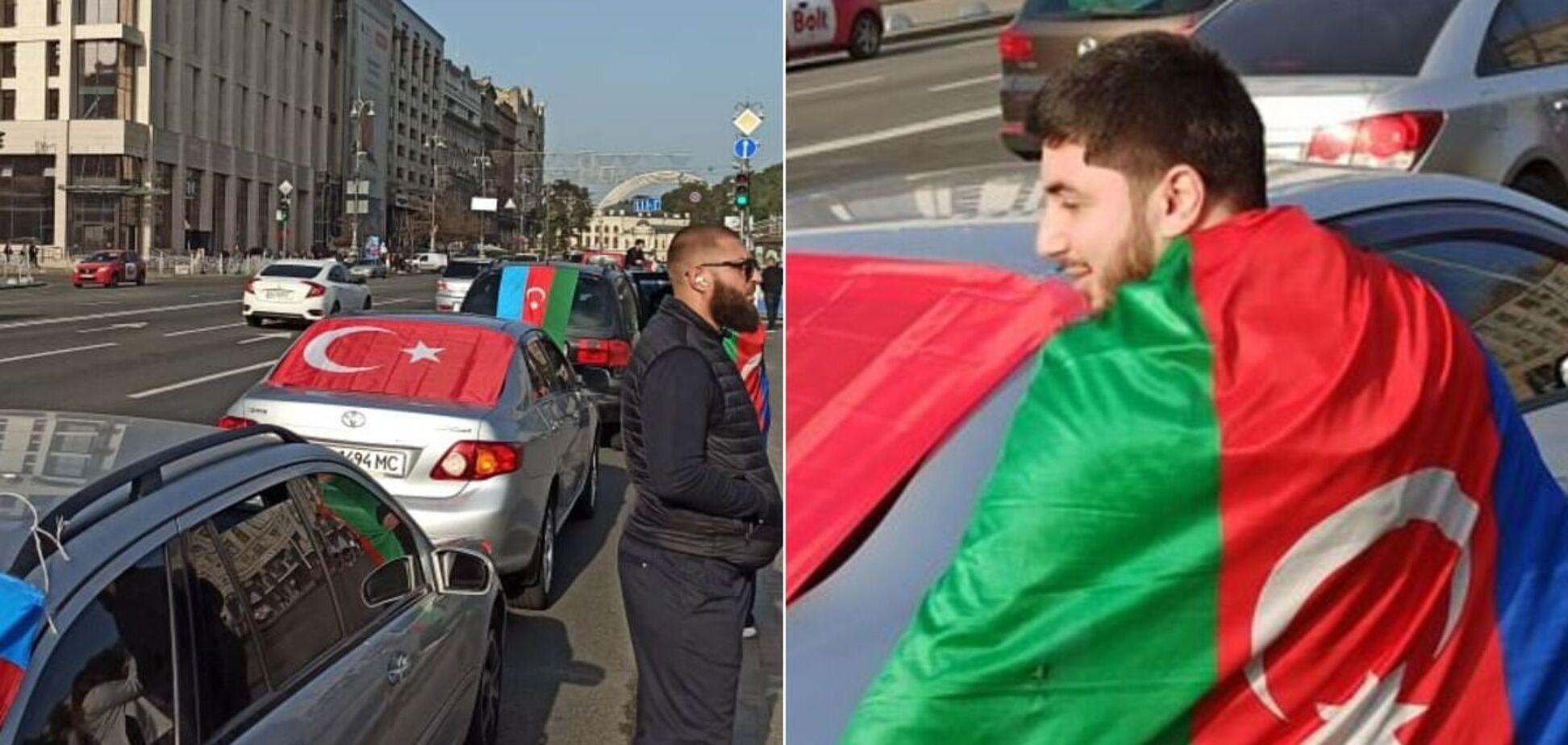 В Киеве прошел автопробег в поддержку Азербайджана