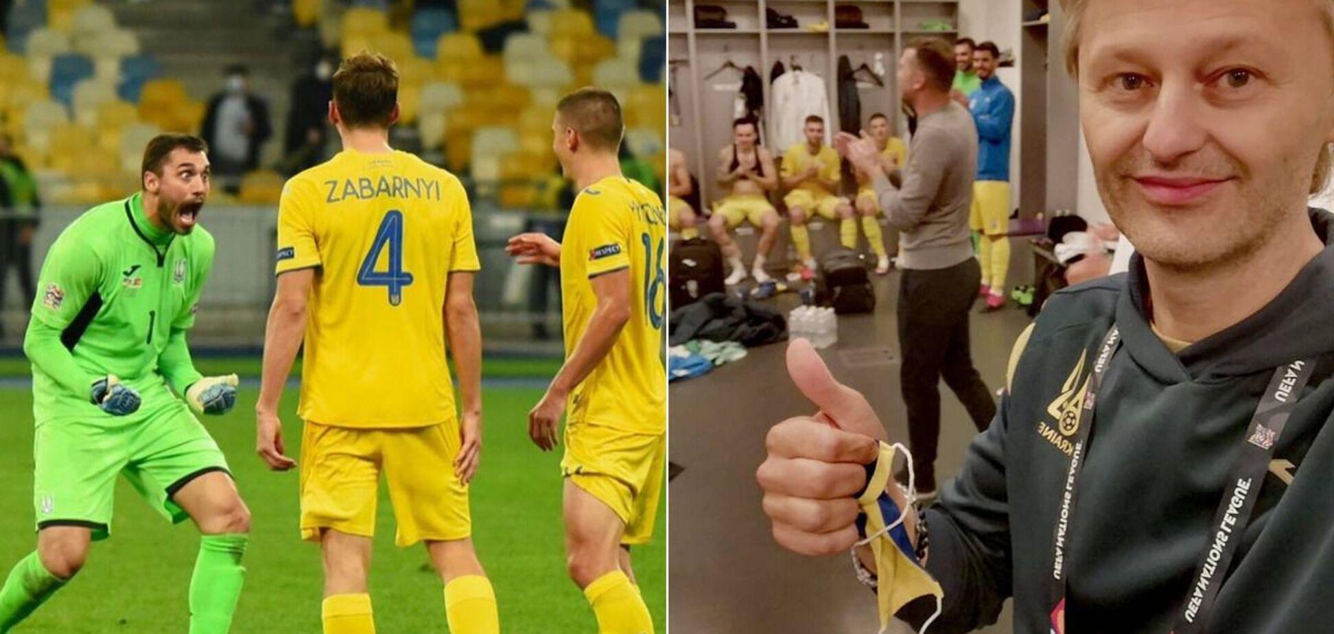 Появились фото из раздевалки сборной Украины после победы над Испанией