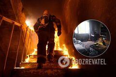 У Дніпрі в результаті пожежі у дев'ятиповерхівці загинув чоловік. Фото з місця НП