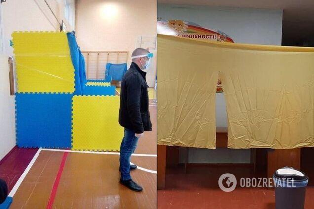 В Житомире кабинки для голосования сделали из тряпок и ширмы для кукольного театра