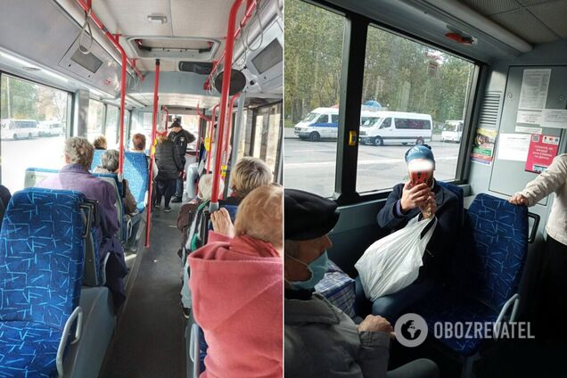 В Запорожье остановили троллейбус из-за скандала с маской. Фото