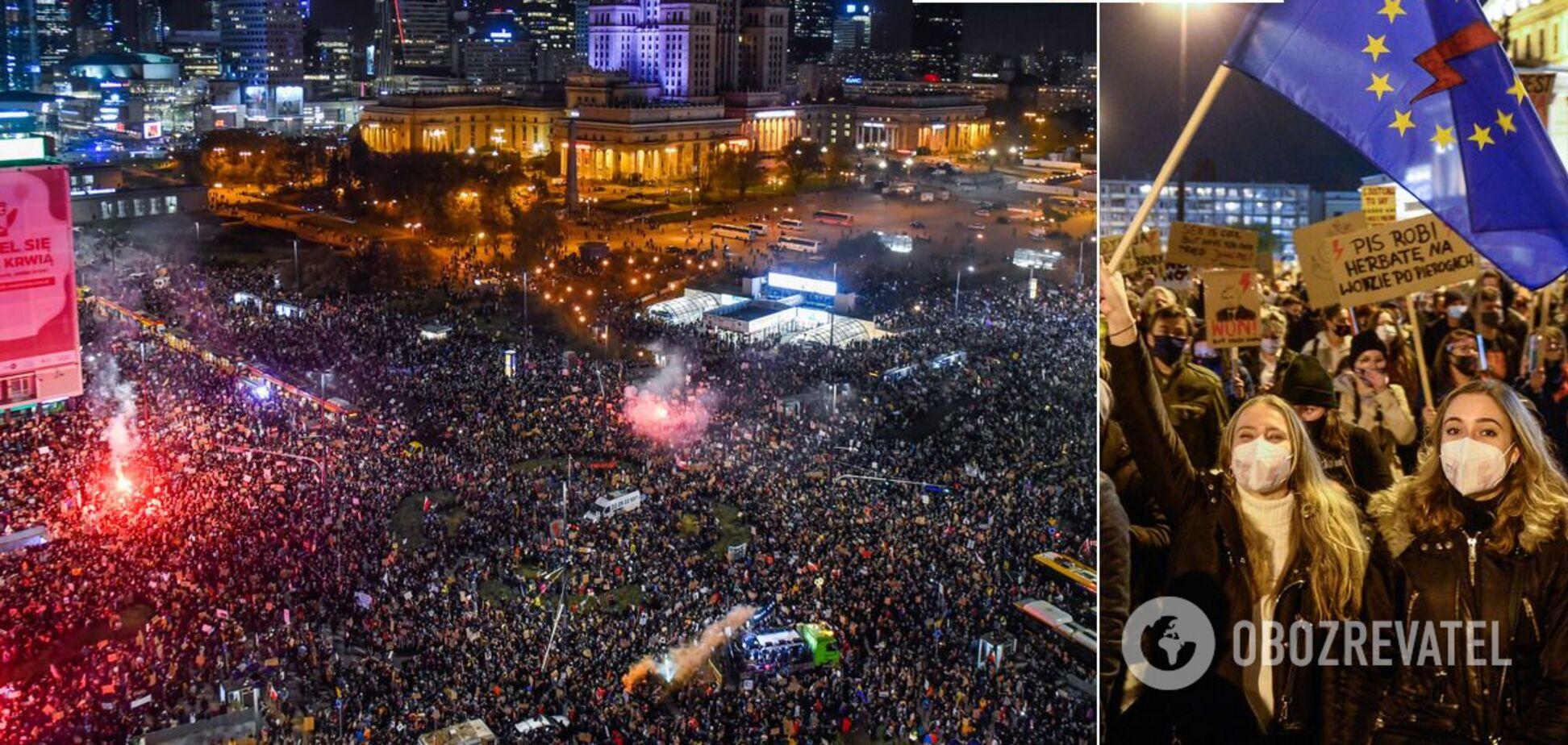 Протесты против ограничения абортов в Варшаве