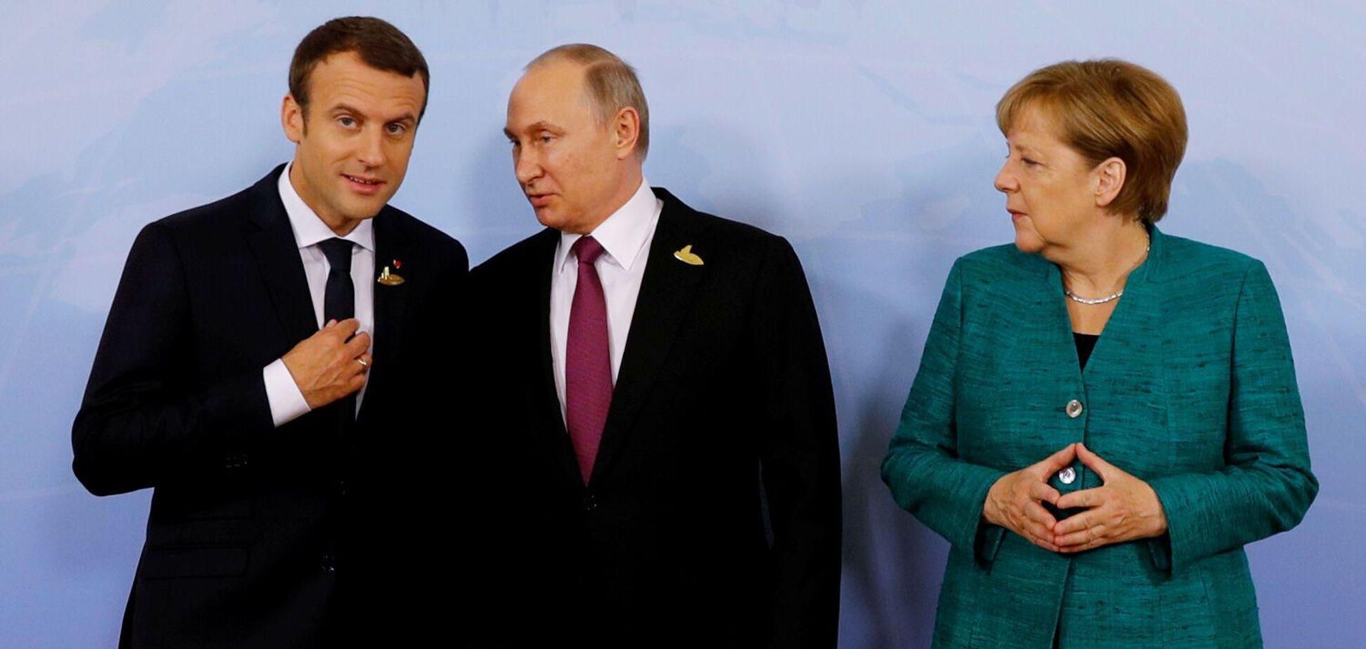 Эммануэль Макарон, Владимир Путин и Ангела Меркель на одной из рабочих встреч