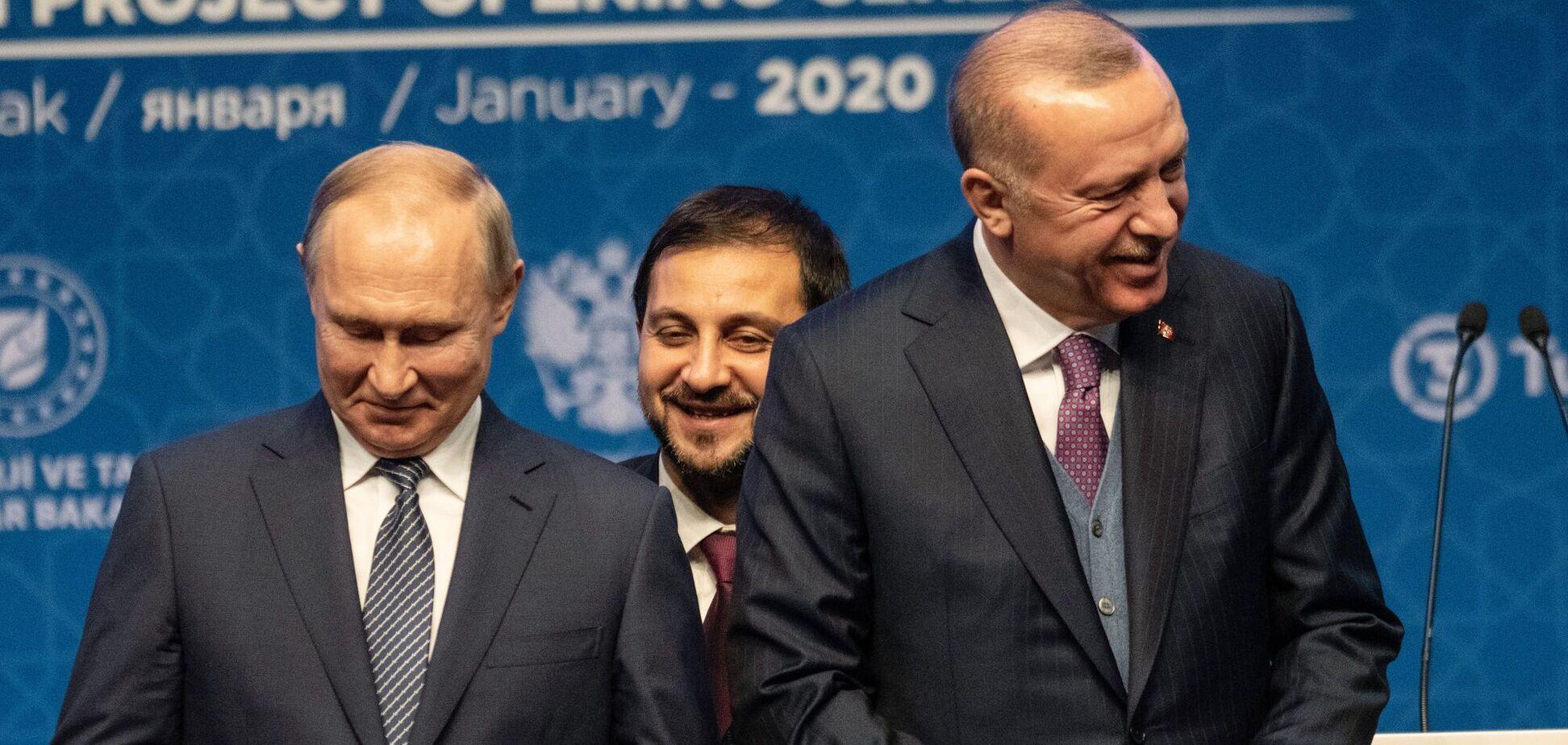 Владимир Путин и Реджеп Эрдоган на открытии проекта газопровода Turkstream 8 января 2020 года в Стамбуле