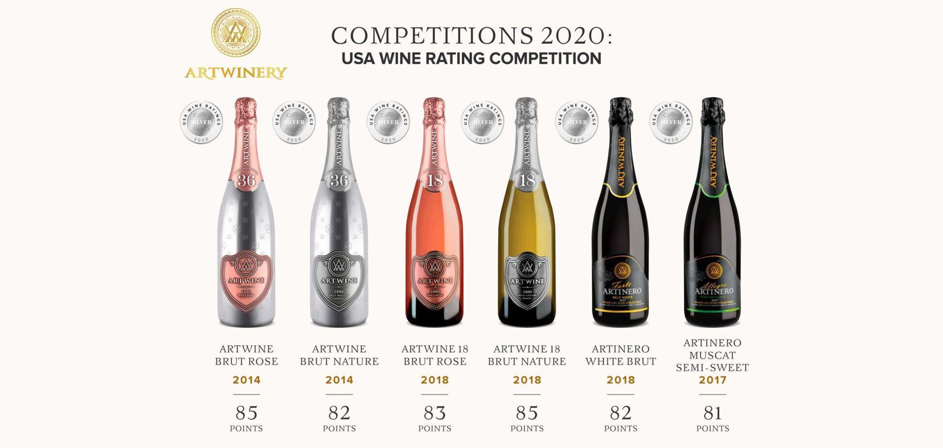 Украинская Artwinery взяла шесть серебряных медалей на USA Wine Raiting