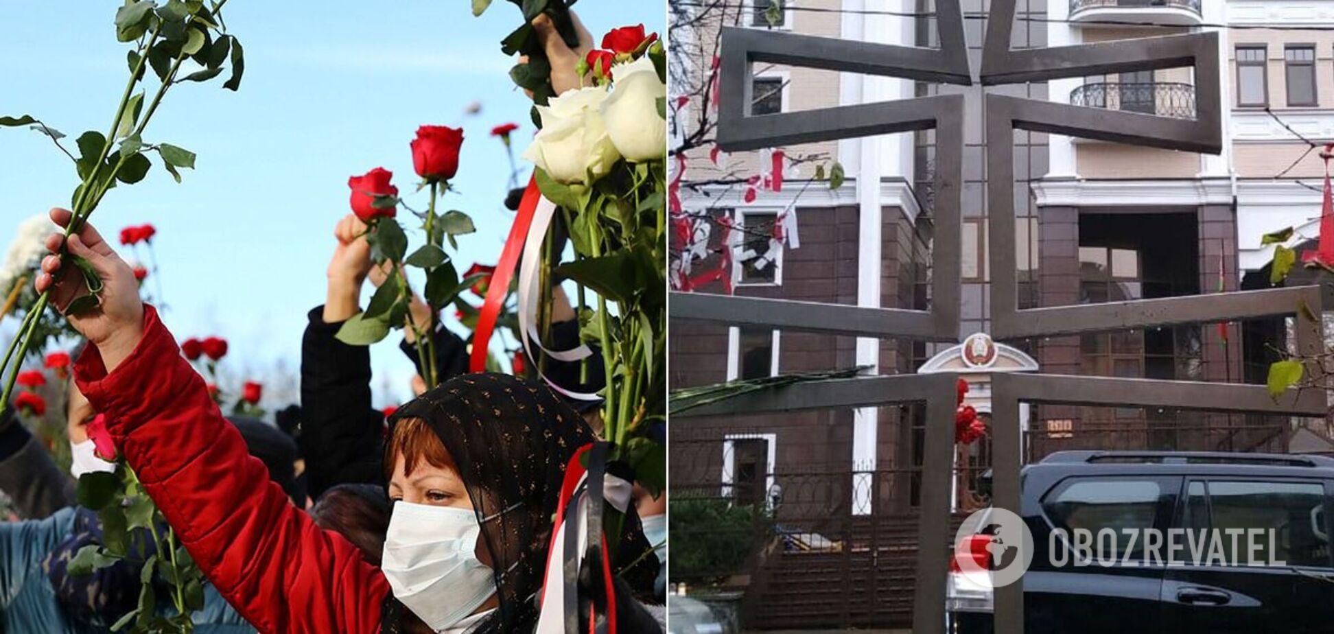 Возле посольства Беларуси установили памятный крест