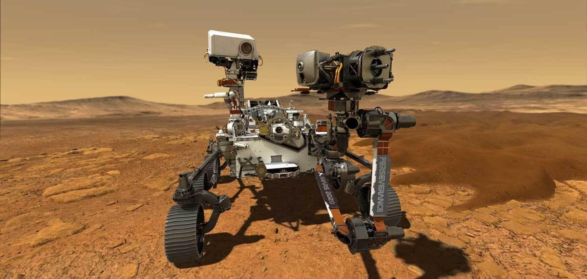 Запись сделана с микрофона на борту марсохода