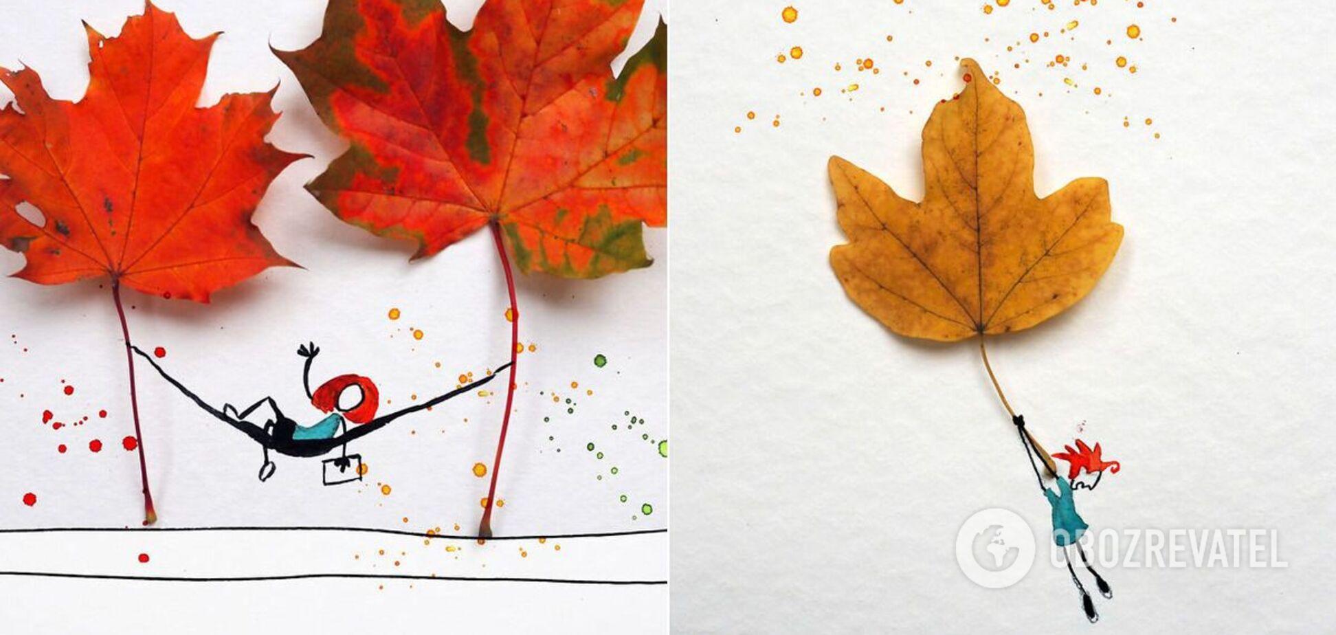 Аллен Шоу використовує акварельні фарби і листя дерев