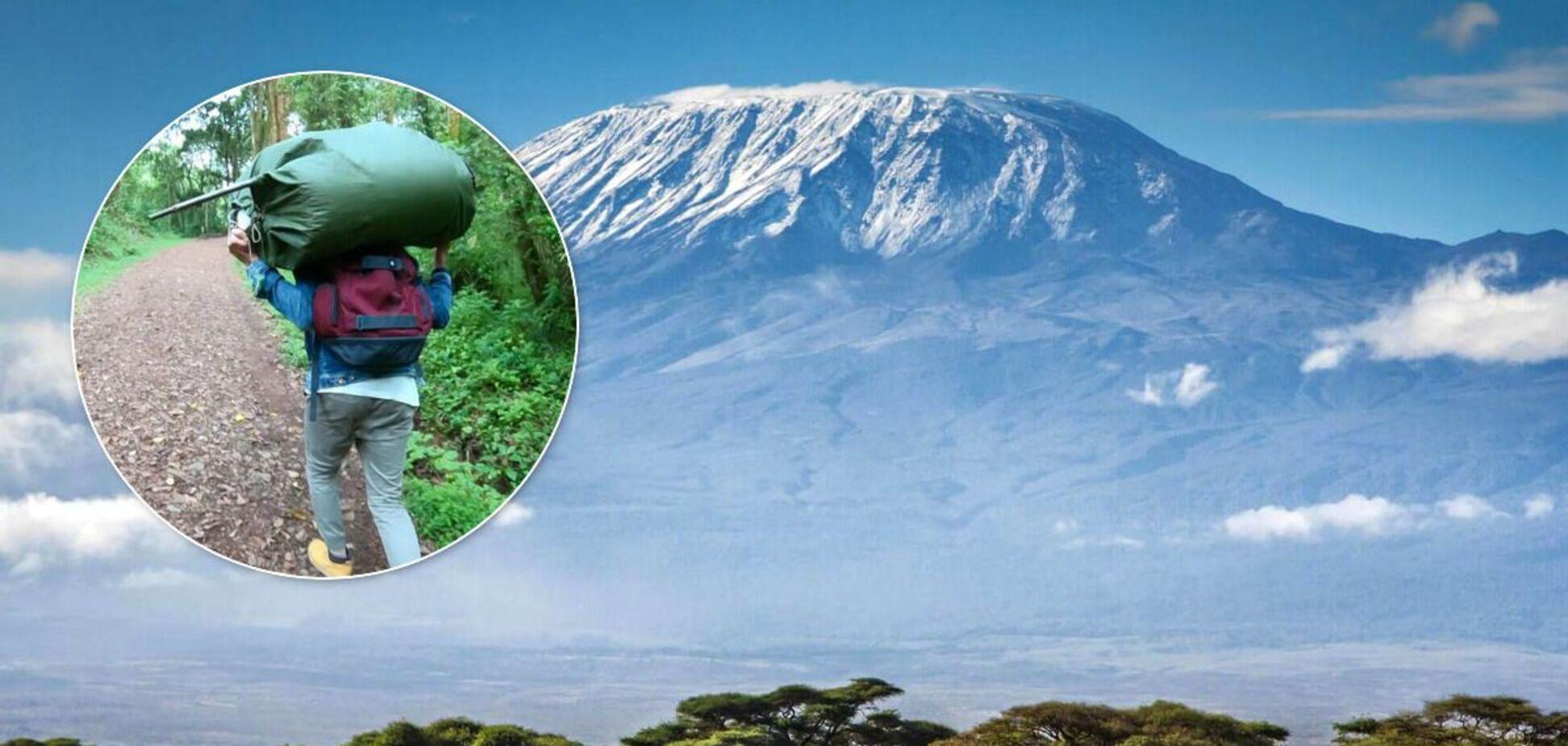 Українець піднявся на Кіліманджаро з вантажем на голові