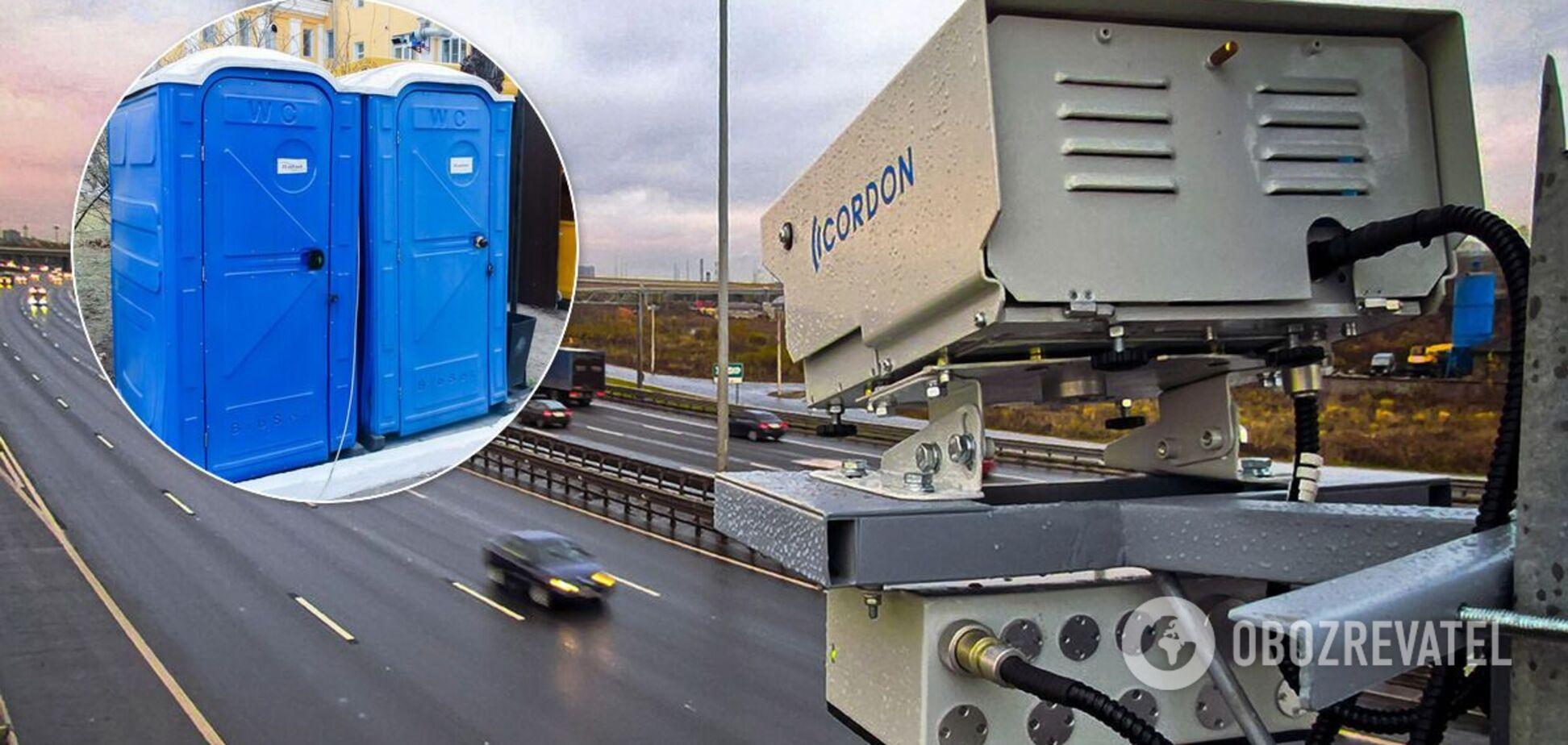 Полиция замаскировала камеру контроля скорости под кабину биотуалета