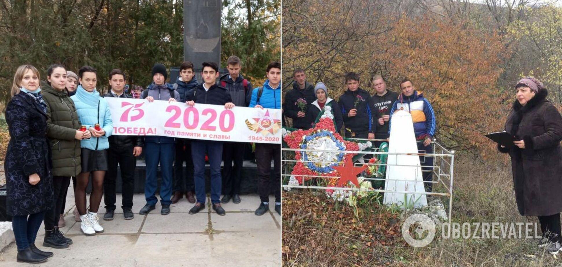 В Крыму школьники с цветами поклонялись 'великой победе'. Фото