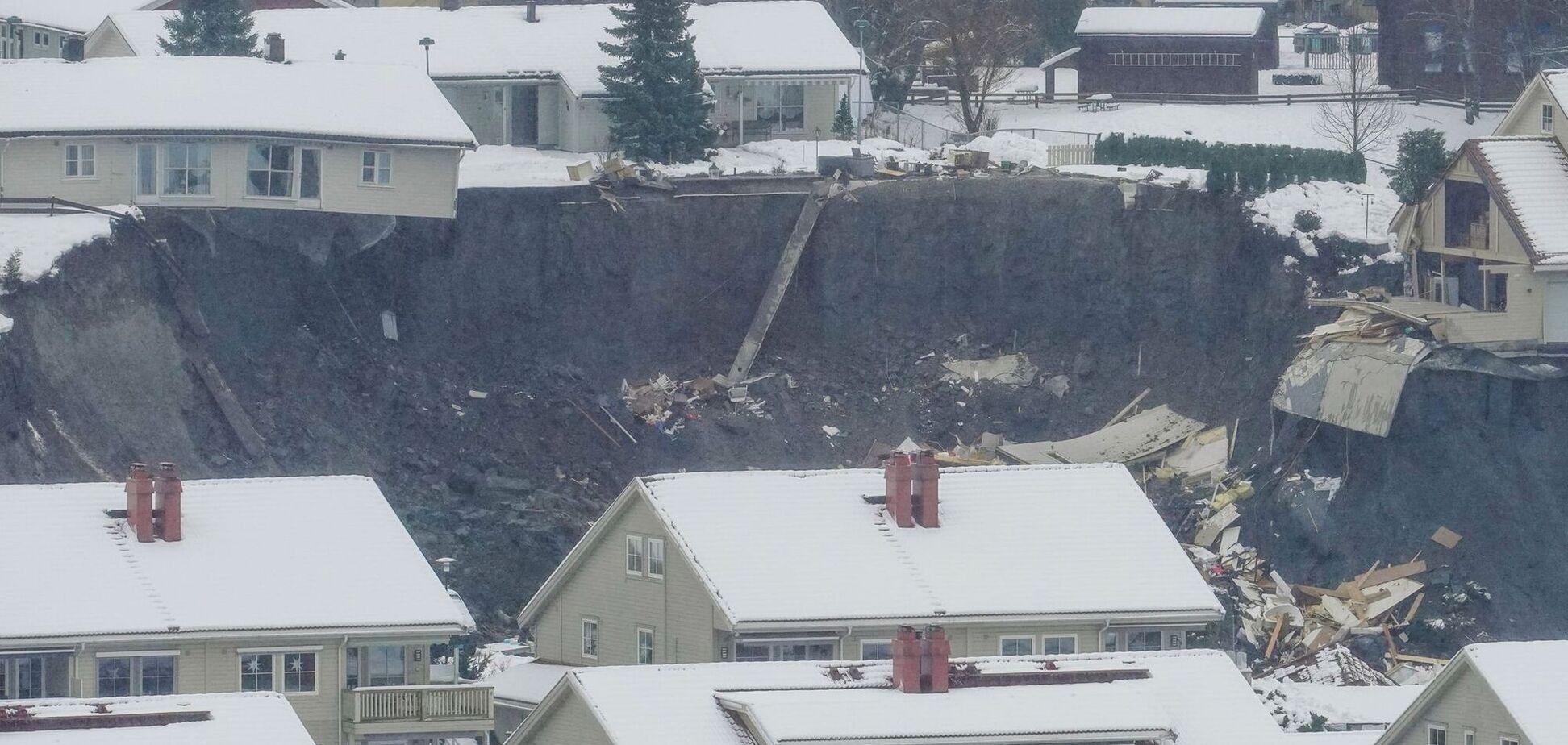 В Норвегии оползень разрушил дома