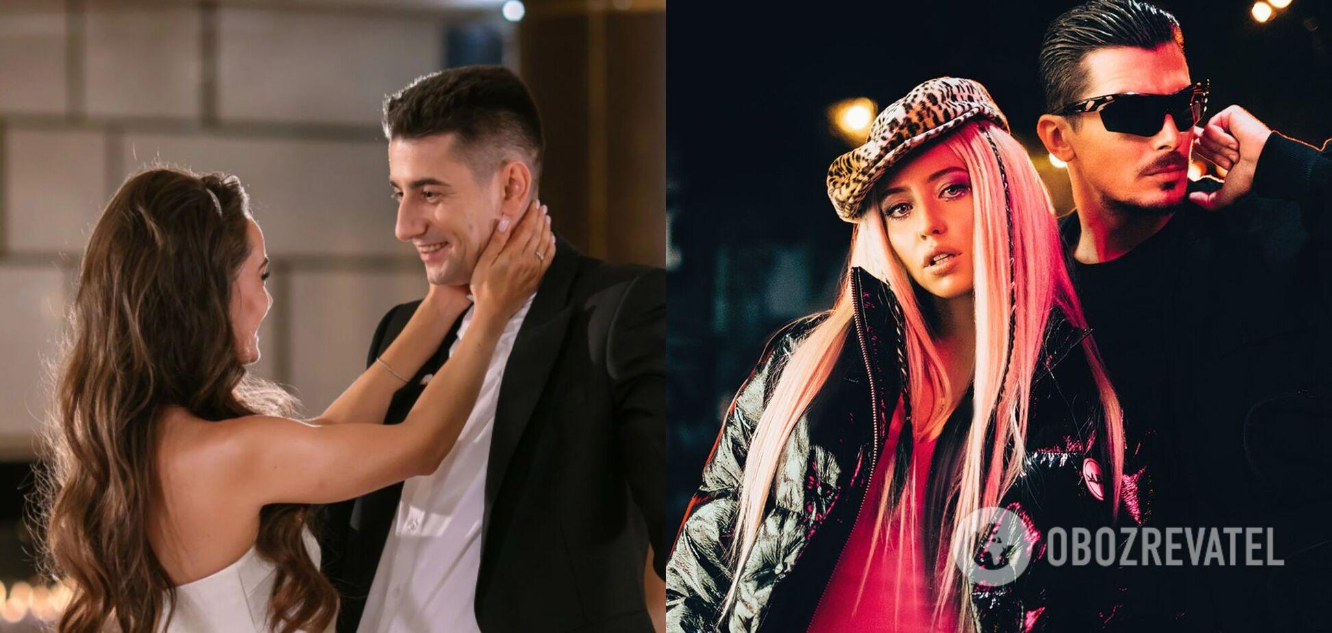 Ксения Мишина с Александром Эллертом и участники группы 'Время и Стекло' Надя Дорофеева и Позитив