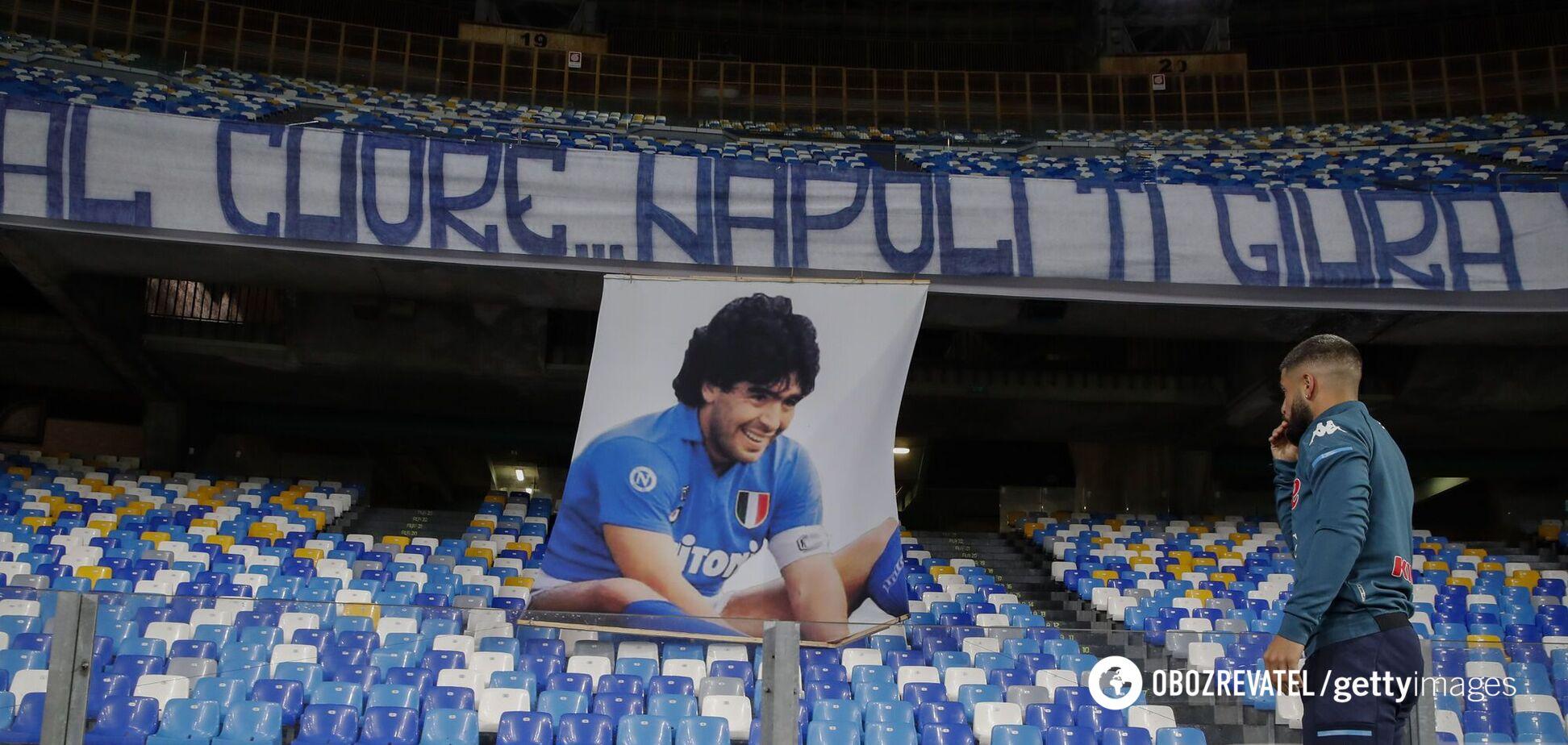 Баннер с Марадоной на стадионе 'Наполи'
