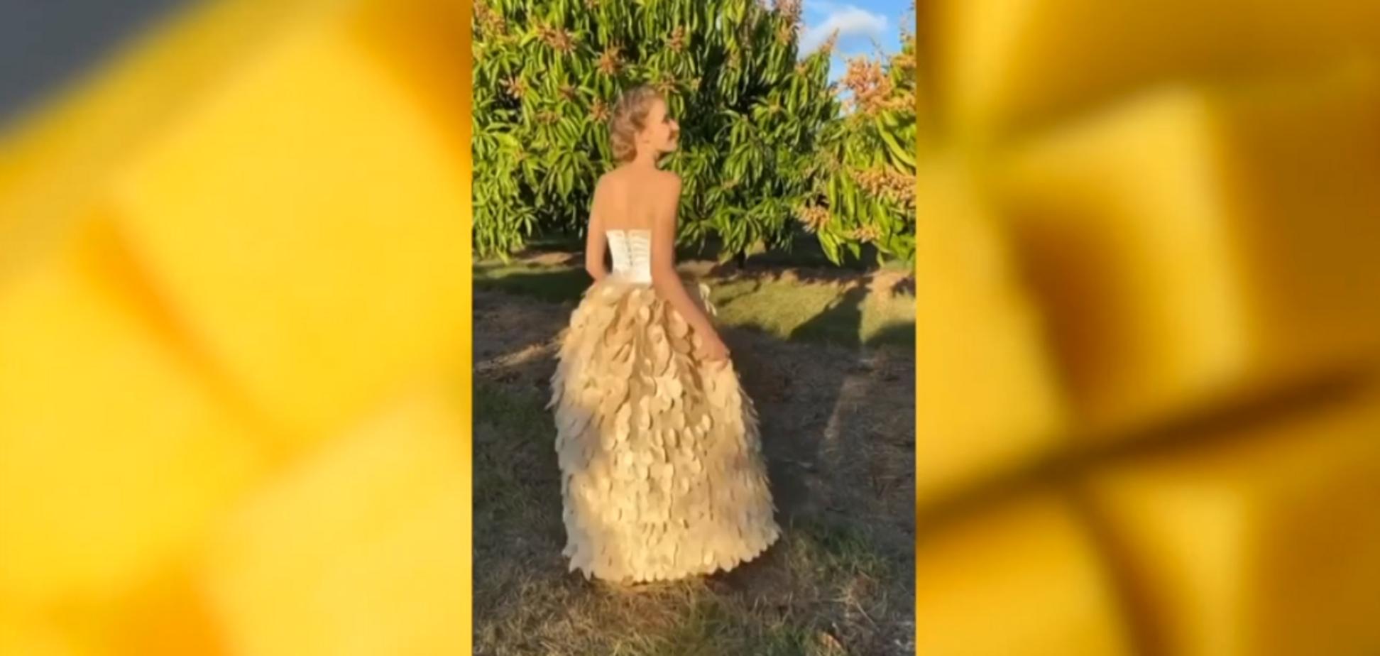 Девушка сшила платье из 1400 манго