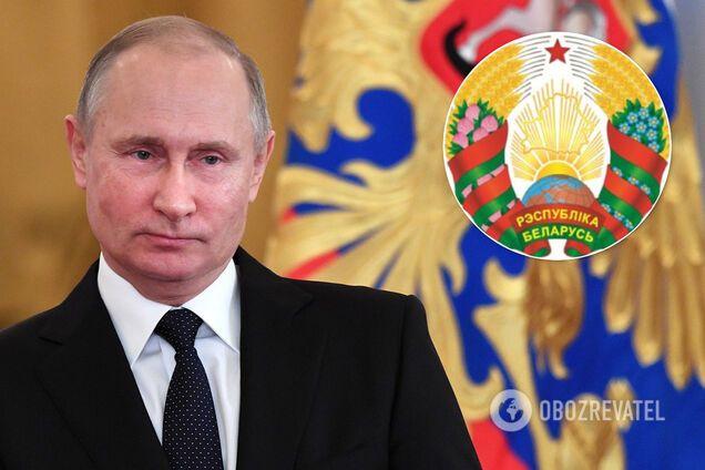 Владимир Путин, обновленный герб Беларуси, коллаж