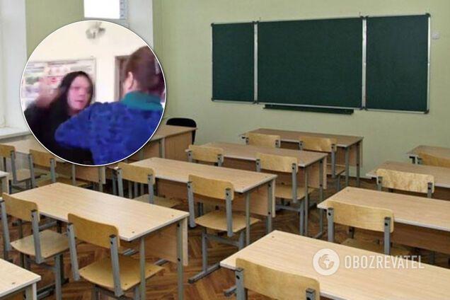 Неадекватный школьник устроил на камеру драку с учительницей. Видео