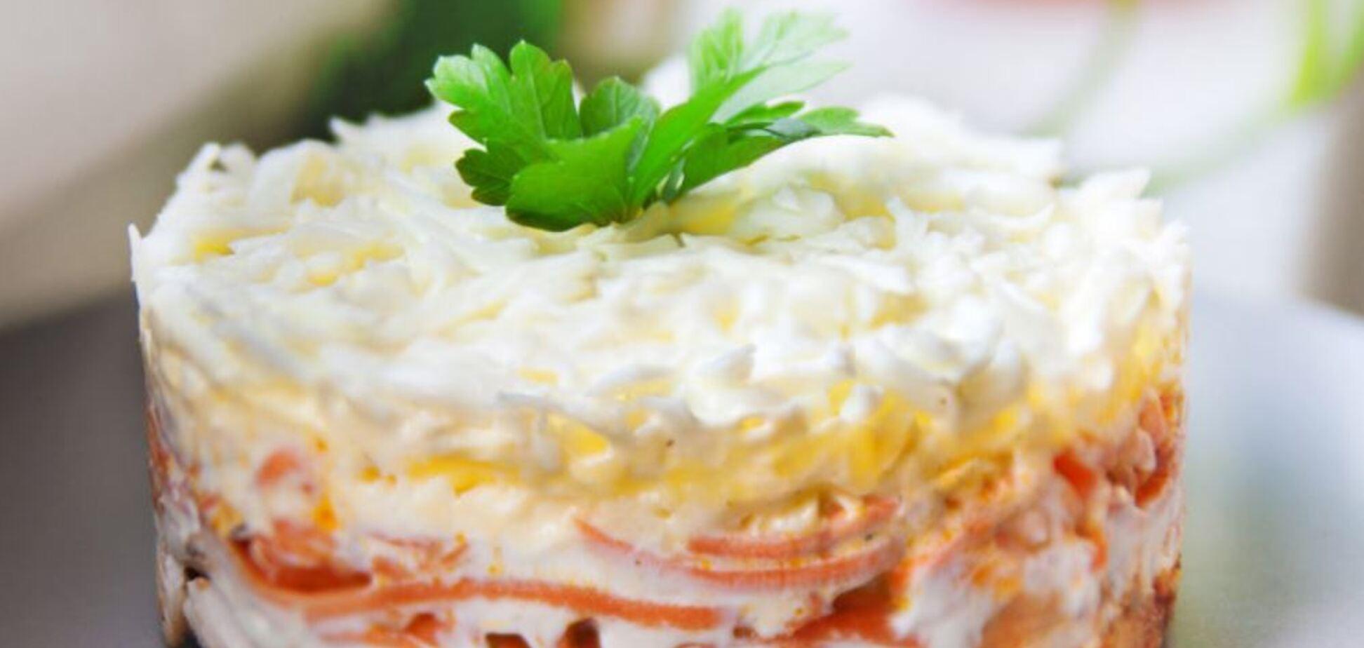 Вкуснейший праздничный салат 'Бунито' с курицей и морковью