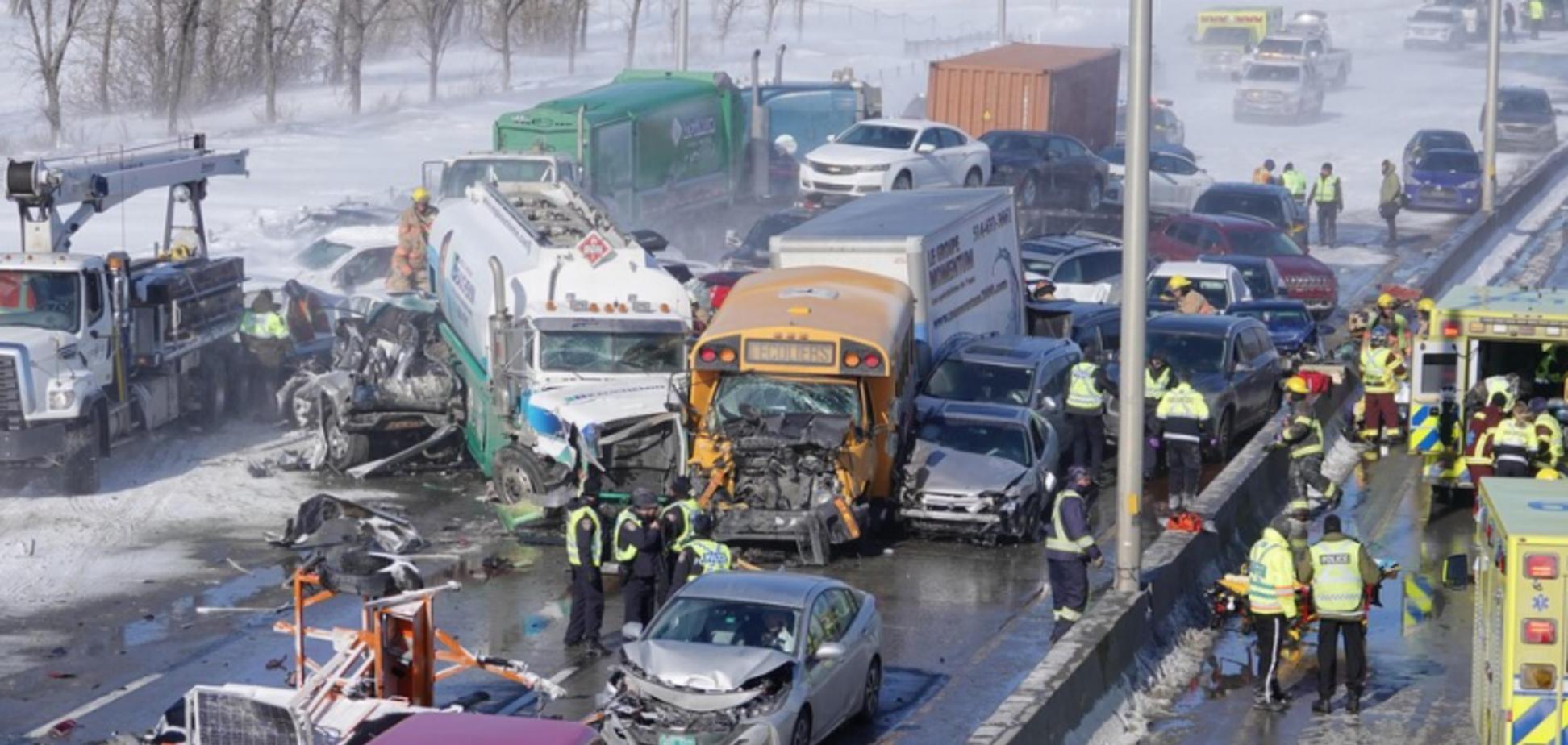 В Канаде метель столкнула более 100 авто: в ДТП пострадали 70 человек. Фото и видео коллапса