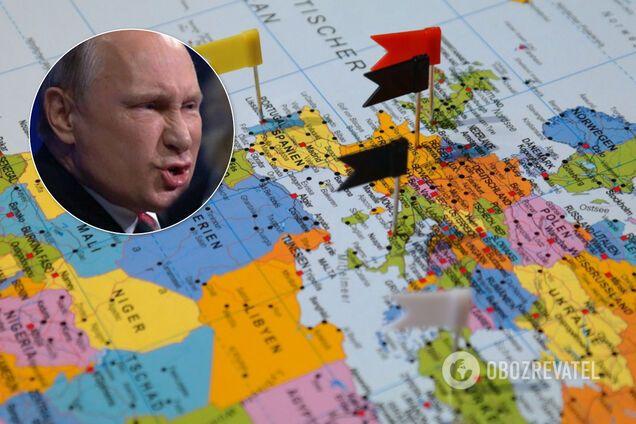 Владимир Путин, карта мира, коллаж