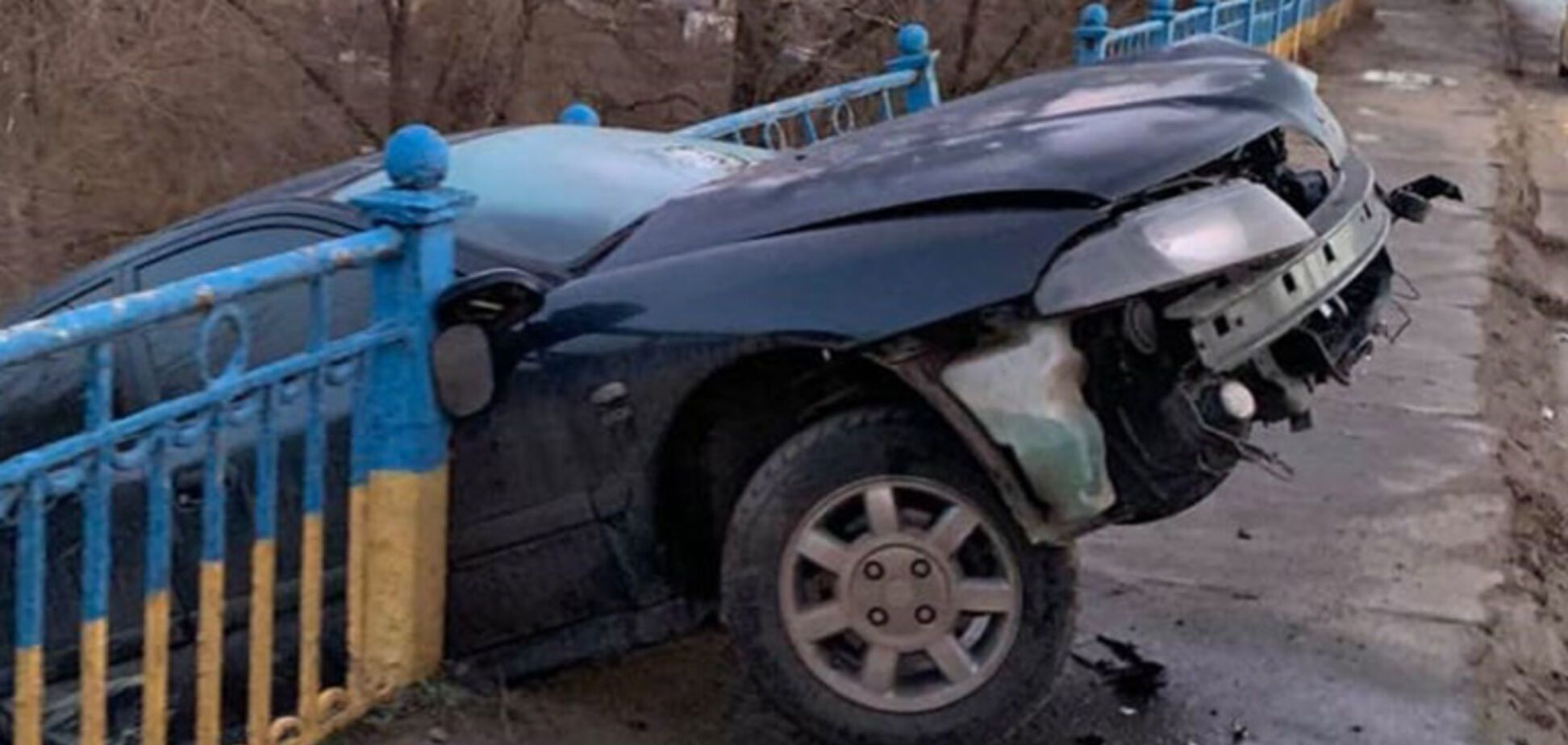 В Кривом Роге автомобиль снес ограждение и повис над рекой: видео спасения