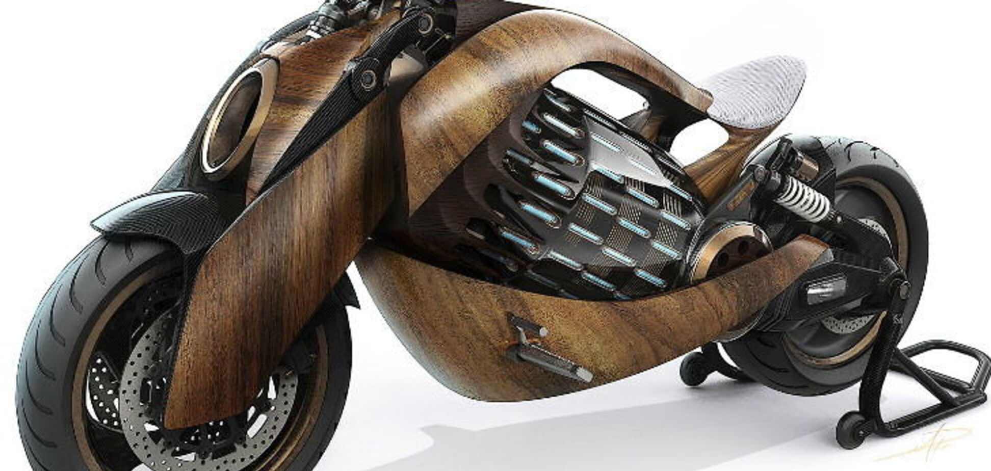 Електричний мотоцикл із дерева з запасом ходу на сотні кілометрів створили у Франції