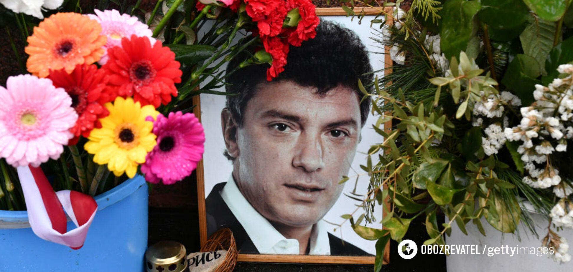 На 'Марш Нємцова' в Москві принесли прапори України. Відеофакт