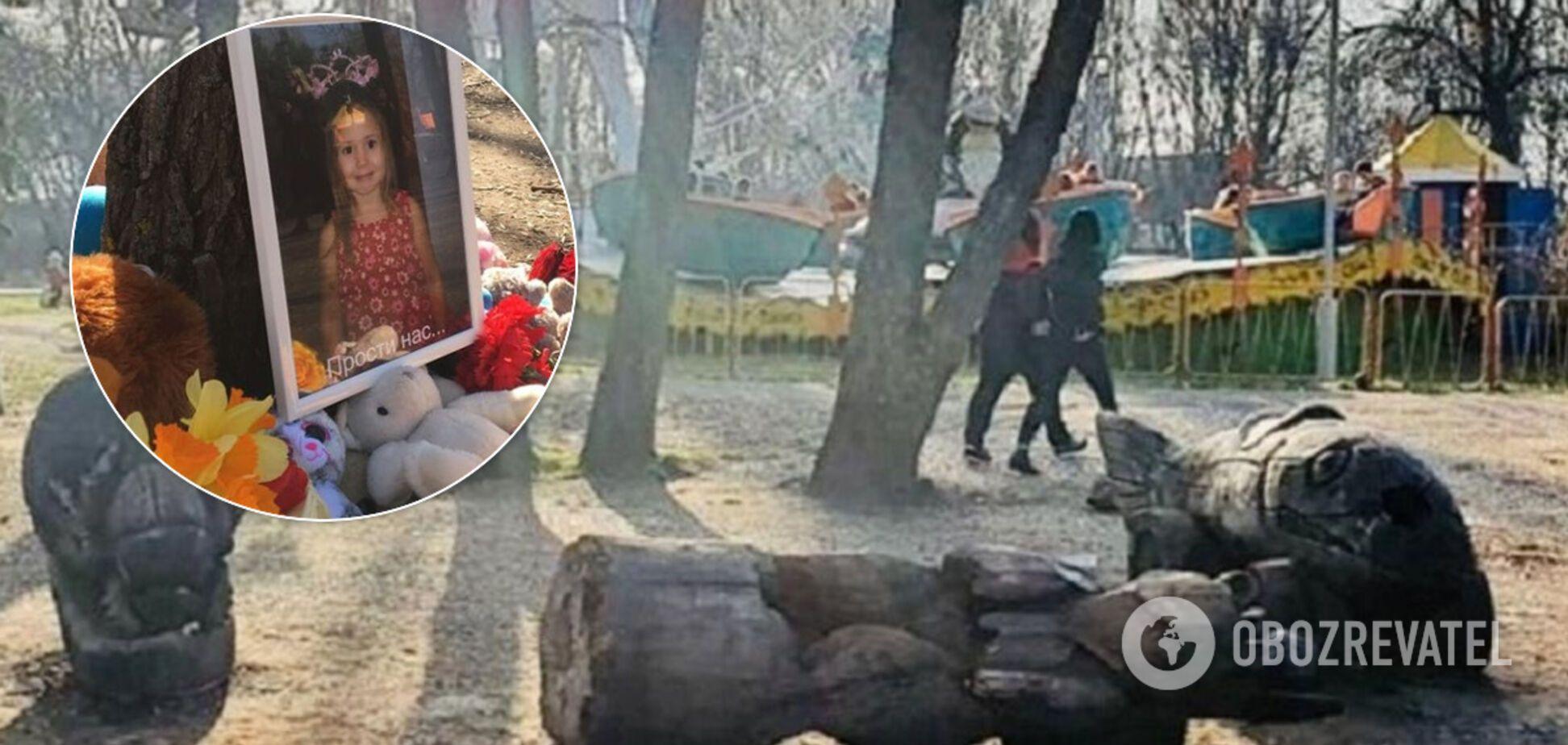В Запорожье власти проигнорировали чествование памяти девочки, которую убила статуя. Фото и видео