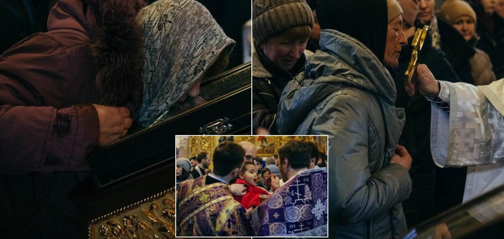 Целуют иконы и причащаются из одной ложки: как прихожане украинских церквей 'соблюдают' карантин. Фото