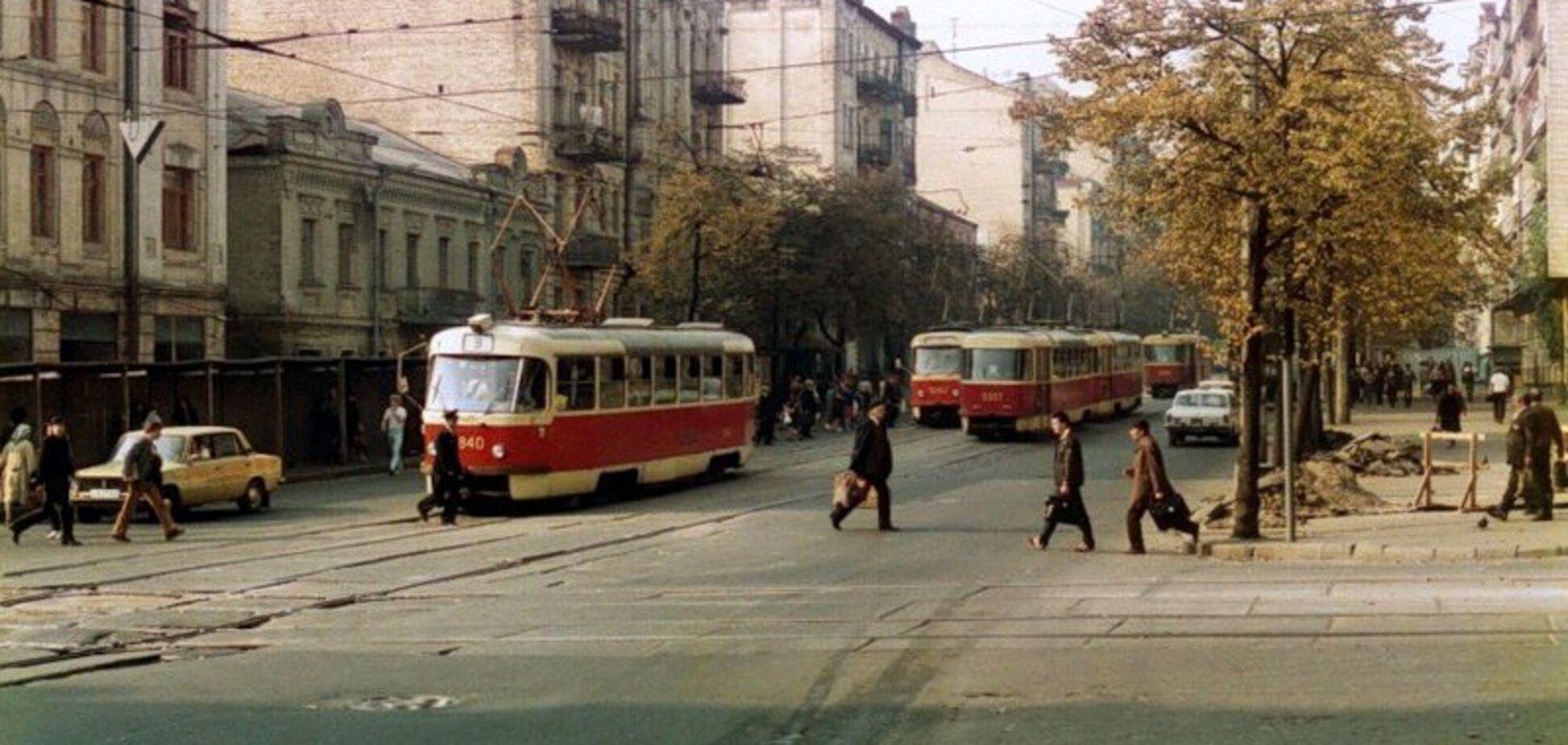 Трамваи в центре Киева