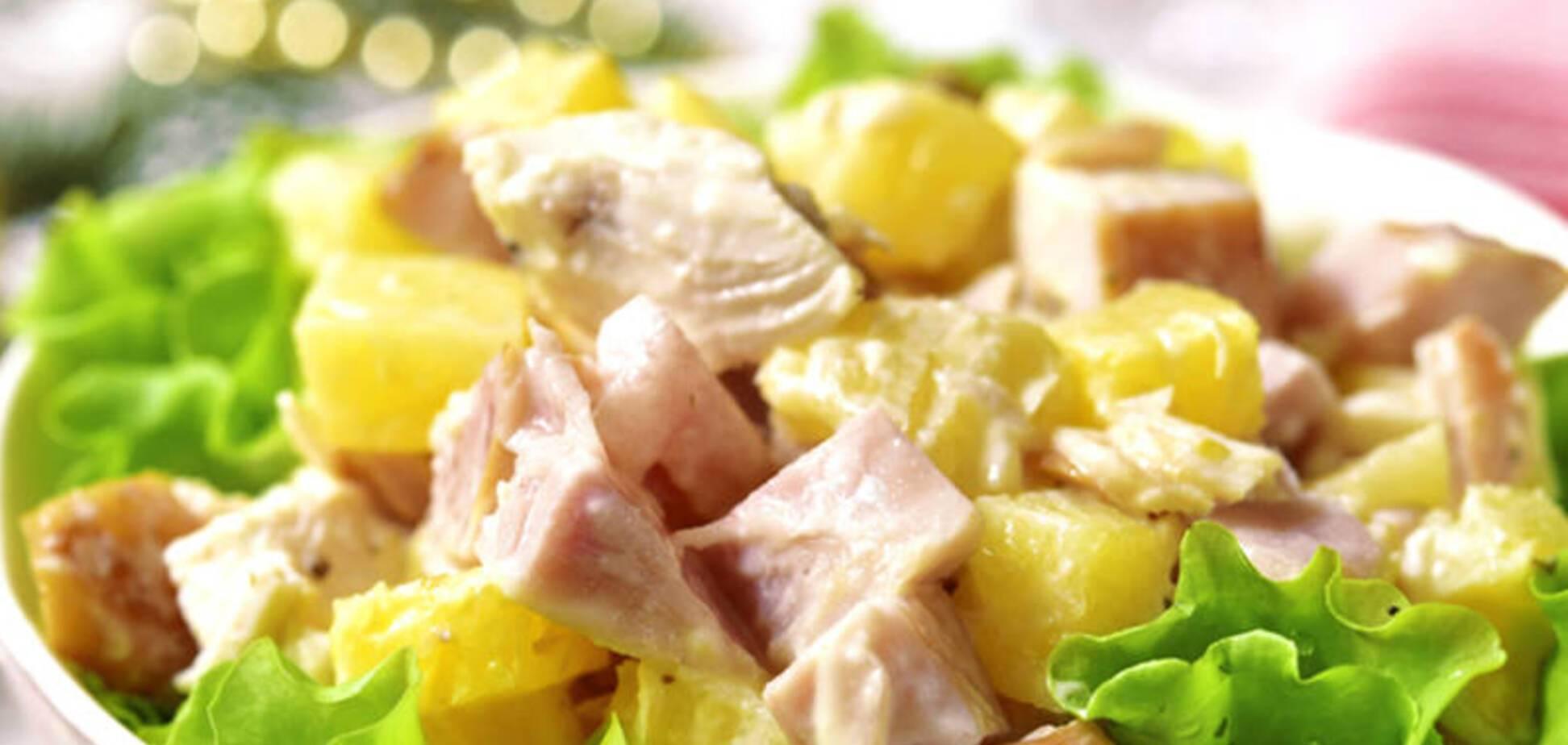 Простий і дуже смачний салат з ананасом до свята
