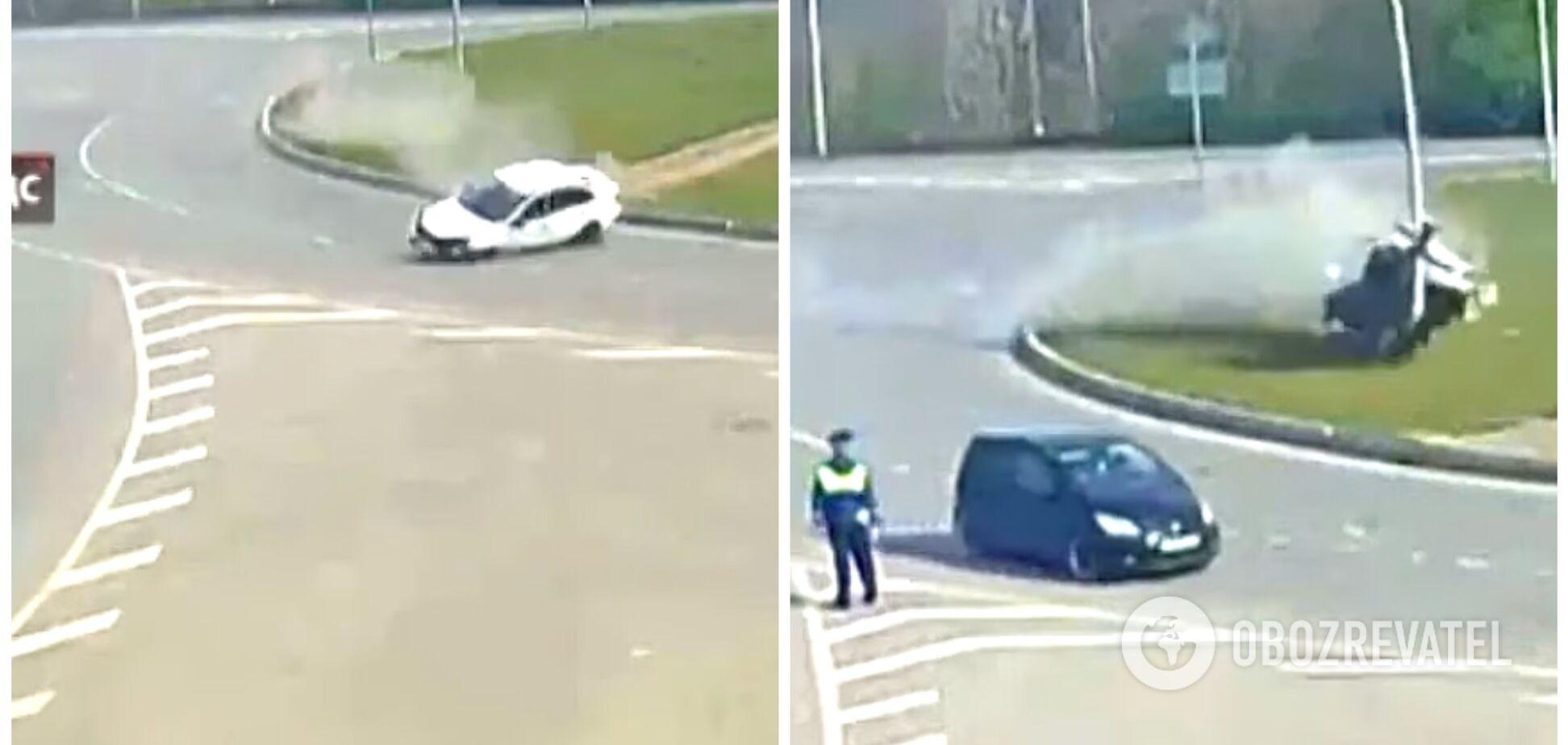 Мистическое ДТП с участием двух белых Lada попало на камеру