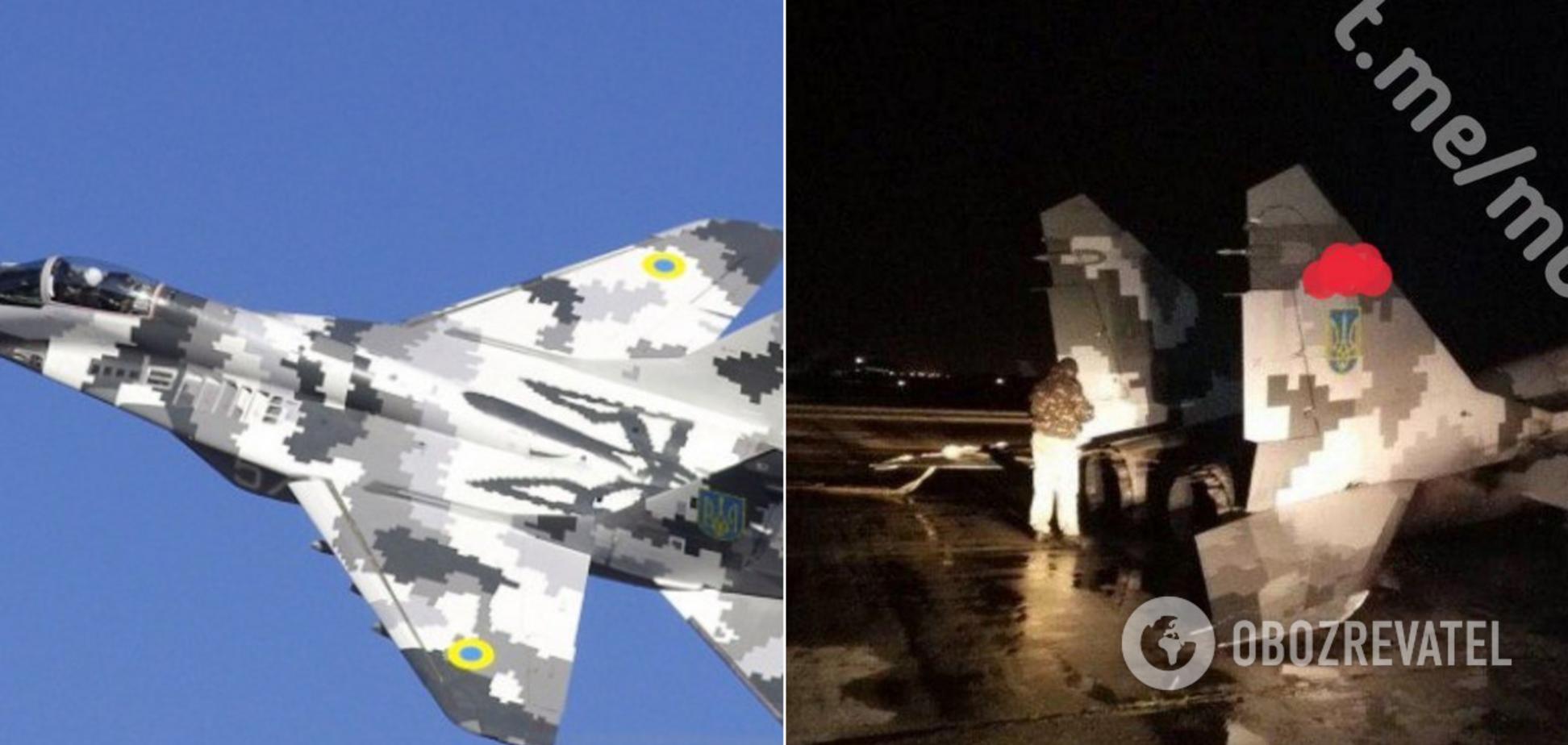 У Мелітополі здійснив аварійну посадку винищувач МіГ-29. Фото з місця НП
