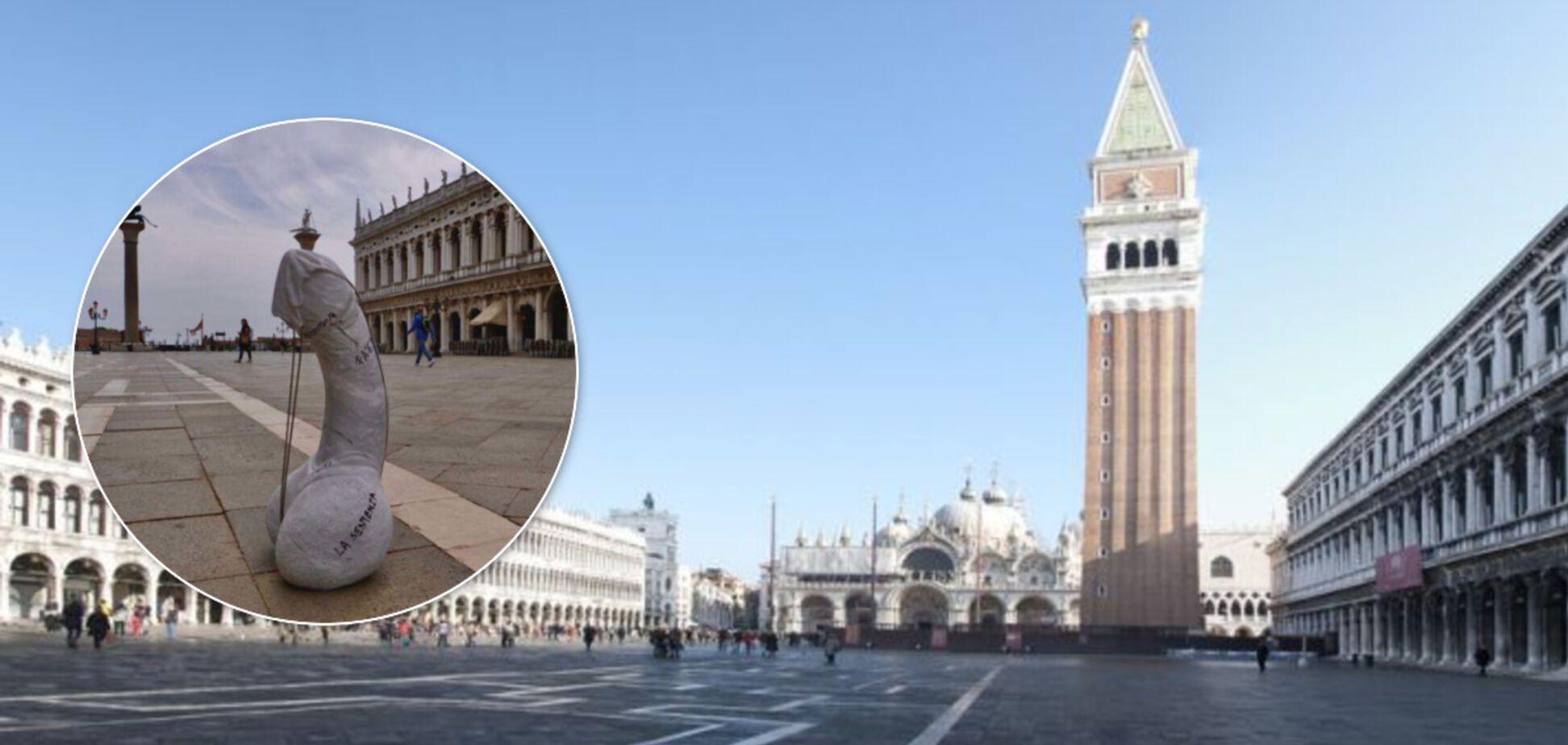 У Венеції на площі встановили величезний мармуровий пеніс у масці. Фото акції