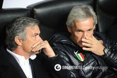 Жозе Моуриньо (слева) в матче с 'Динамо'