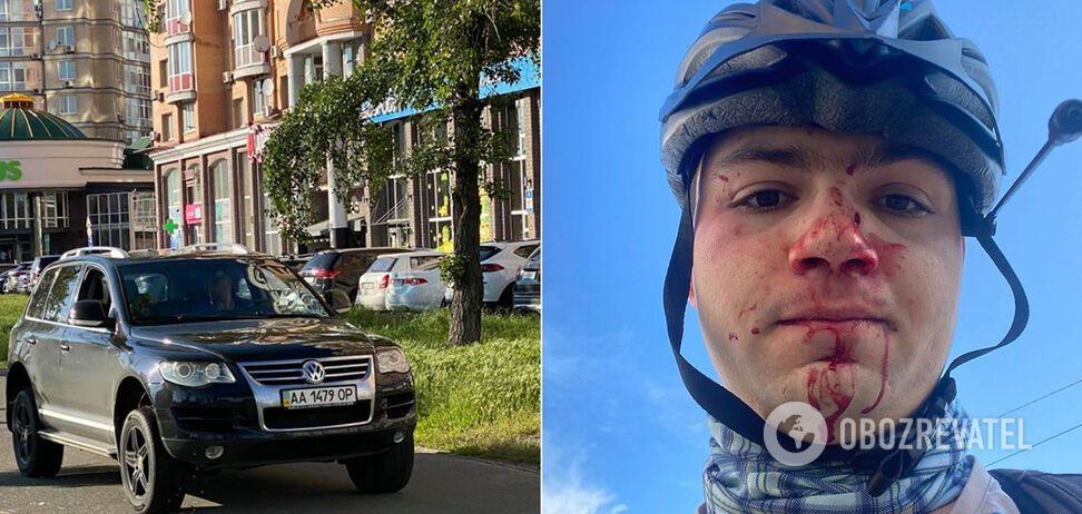В Киеве водитель избил велосипедиста, помешавшего проехать по тротуару. Фото