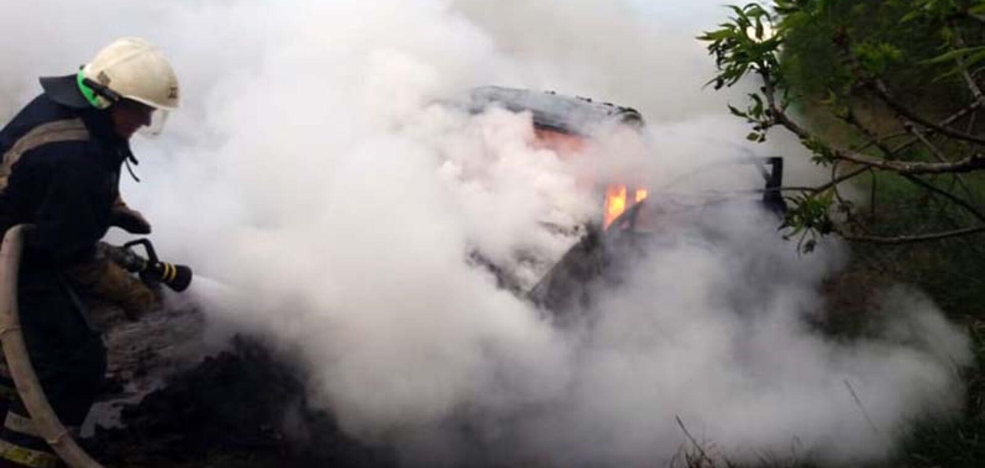 На Дніпропетровщині посеред траси на ходу загорівся автомобіль. Фото