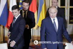 Зеленский и Путин в Париже. Декабрь 2019 год
