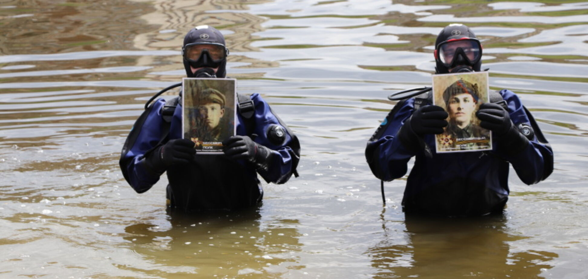 Водолазы в Орле устроили шествие Бессмертного полка по дну реки