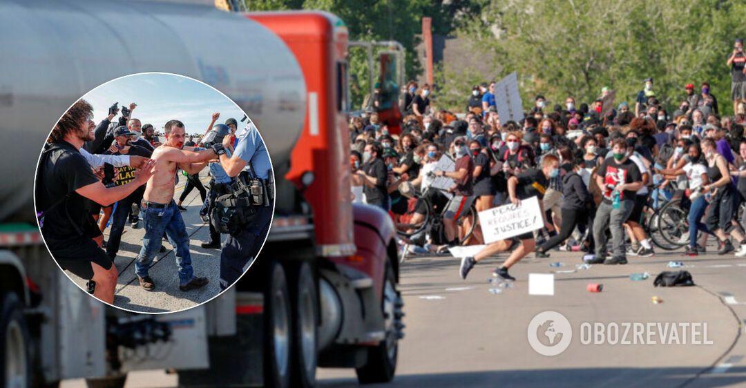 Водитель с украинским именем 'въехал' на бензовозе в толпу демонстрантов в США. Фото и видео