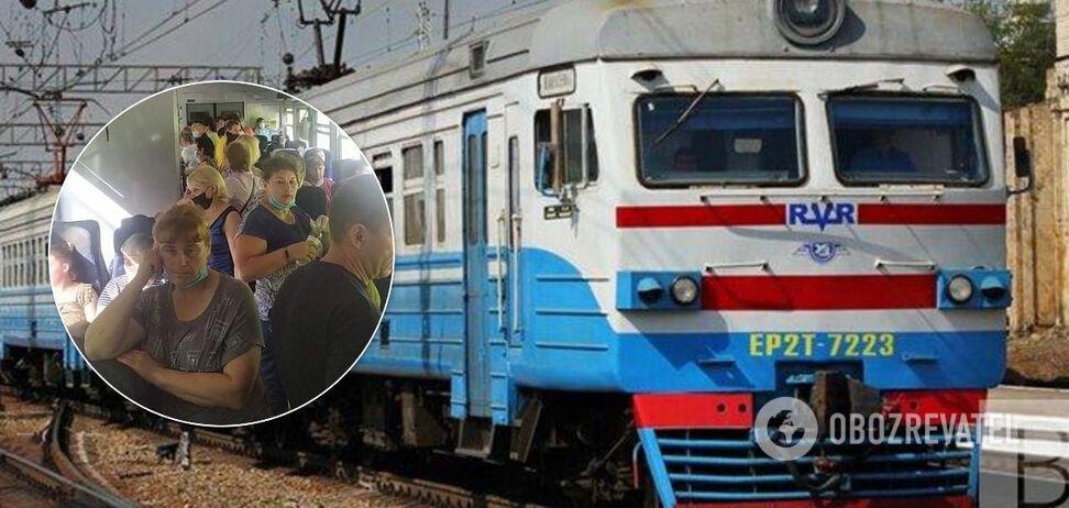 'Укрзалізниці' вказали на порушення в електричці Київ-Ніжин: без масок у забитому вагоні