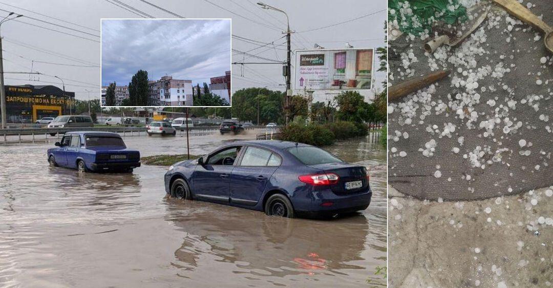 На Украину обрушились ливни с грозами и градом: в городах остановился транспорт и пропал свет. Фото и видео
