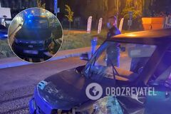 Во Львове водитель без прав убегал от полиции и сбил светофор: в салоне был маленький ребенок. Фото