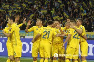 Сборная Украины празднует гол в ворота Португалии в отборе на Евро-2020