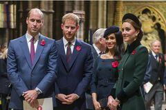 Принцы Уильям и Гарри с женами Меган Маркл и Кейт Миддлтон (фото –  Marie Claire)