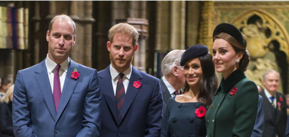Принци Вільям і Гаррі з дружинами Меган Маркл і Кейт Міддлтон (фото – Marie Claire)