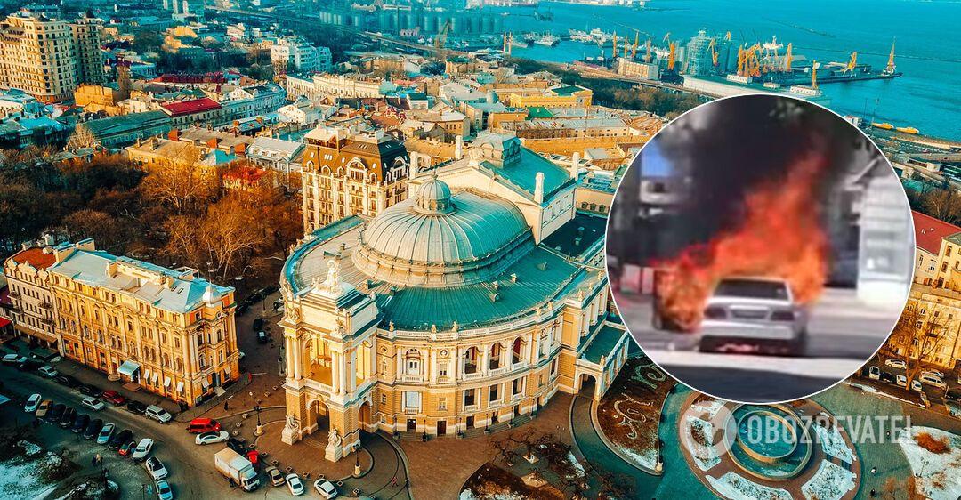 Появилось видео загоревшегося авто в Одессе