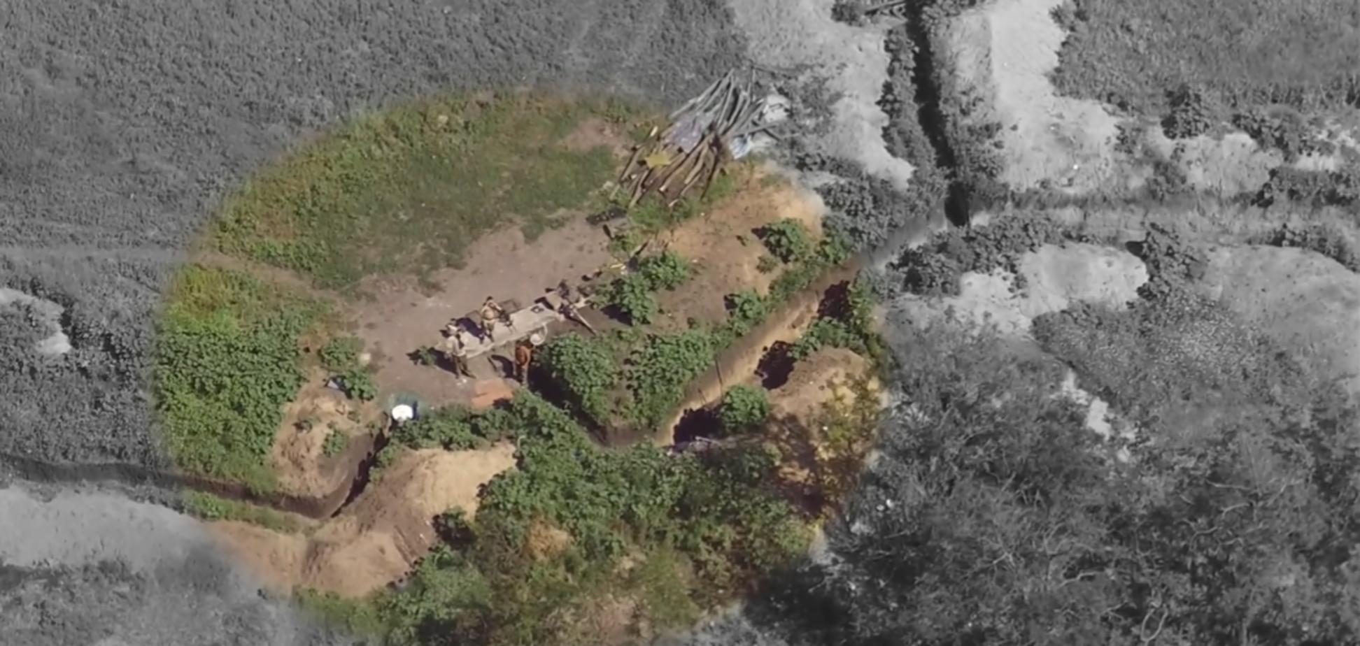 Террористы и их позиции попали на камеры коптеров ВСУ