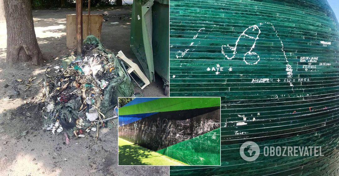 От нецензурных слов до кражи деревьев: в Днепре вандалы уничтожают имущество города