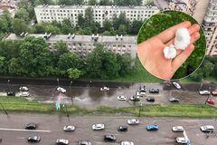 Молния ударила в самолет: в Санкт-Петербурге градом с яйцо побило машины. Фото и видео непогоды